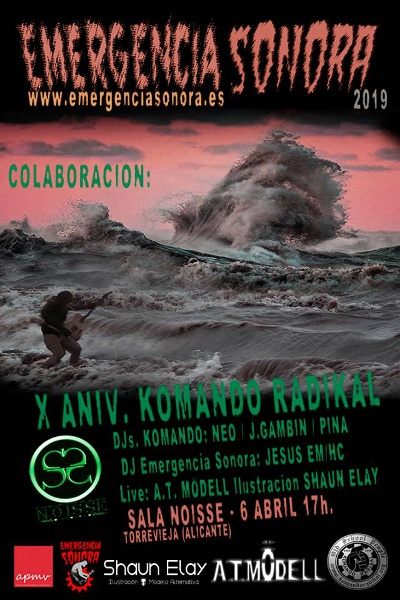 Cartel de presentación de Emergencia Sonora 2019 en Discoteca Noisse (Torrevieja)