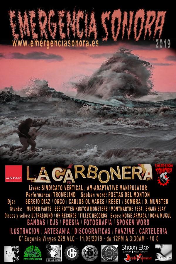 Cartel principal de Emergencia Sonora 2019 (La Carbonera)